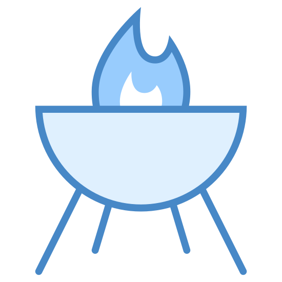 Grill icon. This looks like the bottom half of a circle. There are three legs protruding from the bottom of the circle. On top of the circle, there appears to be a controlled fire.