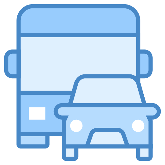 Transporte terrestre icon. It's a logo with a car in front of a bus. The car is positioned to the right, front side of the bus, covering its left headlight. The car and the bus have rounded corners.