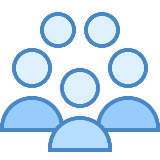 Benutzergruppen icon. This icon is made up of the same picture five times. Each picture has a circle on top that is attached to a half oval on the bottom. The upper half is rounded, the lower half is sort of flat, with a curve to it.