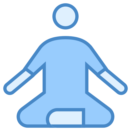 Guru icon. It is a symbol of a person sitting down. The position appears to be one that a person would take while meditating, with their legs crossed and arms bent outward.