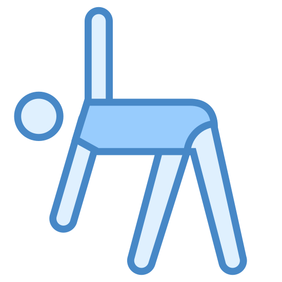 Gimnastyka icon. This is a picture of a stick figure person that is bending over. their left arm is sticking straight into the air and their right arm is touching the ground. their legs are apart and their back is straight