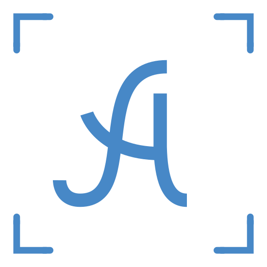 "Handwritten OCR icon. This is a picture of four corners of a square with a handwritten letter ""A"" in the center of it. the corners form a square, but without the sides of it."
