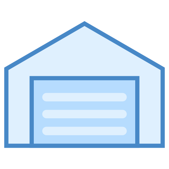 Hangar icon. This looks mostly like a square. The top of the square actually comes to a point. There is a rectangle going horizontal in the middle of the square, lying along the square's bottom side.