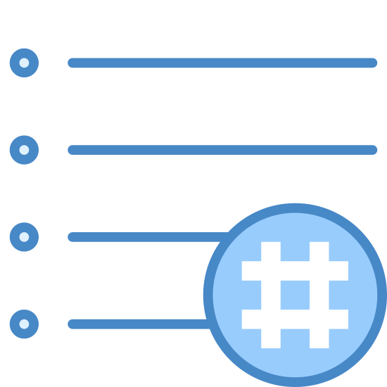 Hashtag Activity Feed icon. This is a picture of a paper with writing on it. it has three lines altogether. in the bottom right hand corner there is a hashtag symbol. the corner is cut out for the symbol