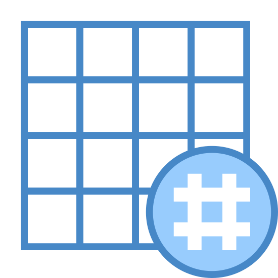 Hashtag Activity Grid icon. There is a square that has been divided into 4 columns and 4 rows. in the lower right hand corner the square is wited out so se can not see it and the pound sign is in the whited out area