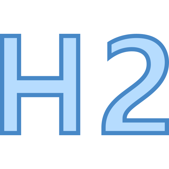 Nagłówek 2 icon. The logo for Header 2 is plain text. It has the letter H next to the letter 2 and both are drawn in square lettering with black bordering and an empty middle.
