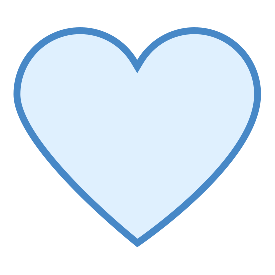 Heart Outline icon. This icon looks like a heart symbol. It has a rounded v-top that circles around and closes together at the bottom into a point. It would be used to show love or affection.
