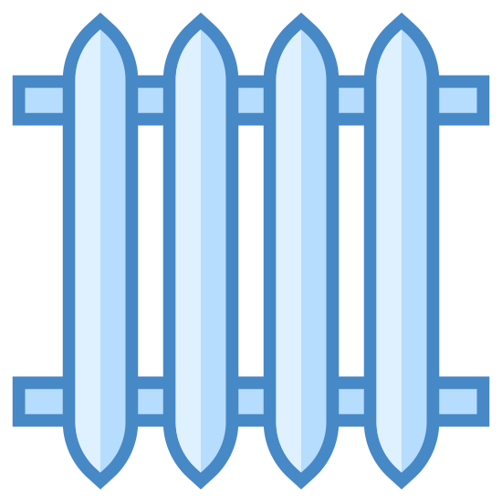 Kaloryfer icon. The radiator logo consists of two horizontal tubes in the background of the image. On top of the tubes there are four vertical rectangles with pointed ends to represent the coils.