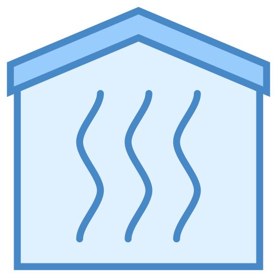 Heating Room icon. A square with rounded edges, except where the top side of the square would be there is instead the roof. The shape overall resembles a simple house. Inside there are three curvy lines that run towards the roof of the house to the bottom of the square. Each of the curvy line is next to each other.