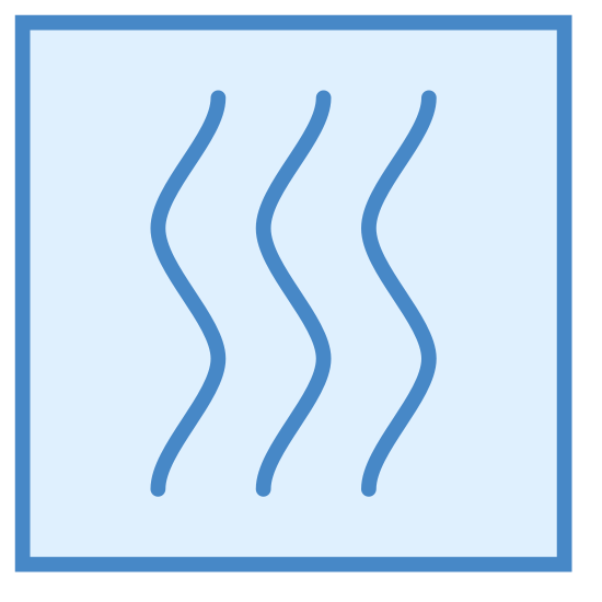 Ogrzewanie icon. This image is a square with three vertical lines inside of it. These lines are slightly wavy and parallel and appear to signify the rising of warm air through a vent or furnace.