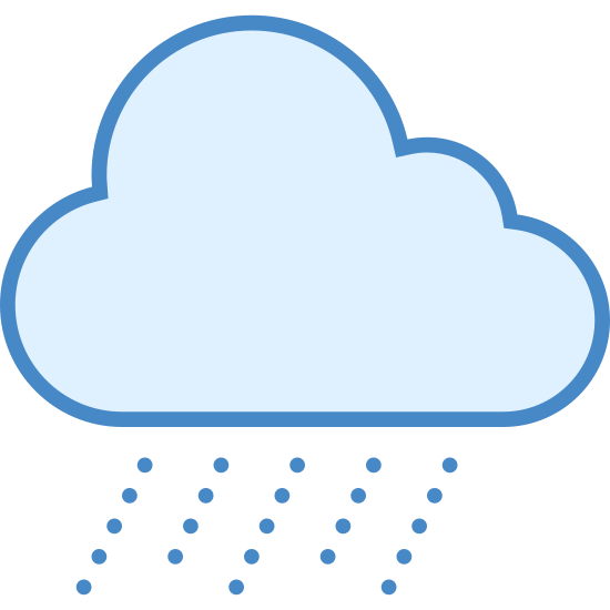 Heavy Rain icon. This is an image of a cloud.  The cloud is made up of three poofs and has a flattened bottom.  Below the cloud are four slanted dashed lines to indicate rain.