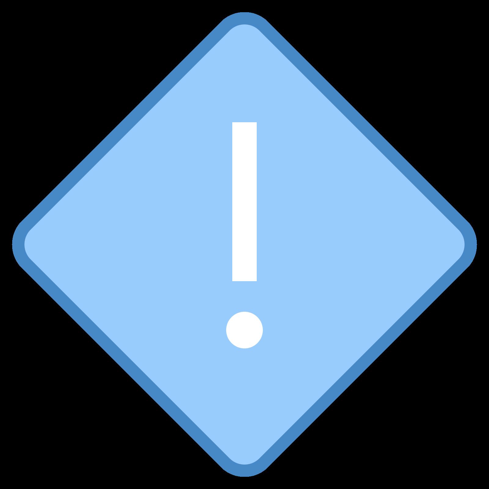 高优先级 icon. There is a single diamond shape, and in the center of the diamond shape is an exclamation mark. There's no other detail to the sign or any other marking on it, it seems like a warning sign of a sort.