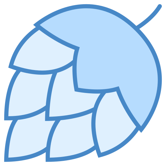 Hops icon. This is a icon that has an round but comes to a point at the bottom and has a layed pattern throughout the entire lower half. It also has a top semi-circle that comes to small line to represent the stem.