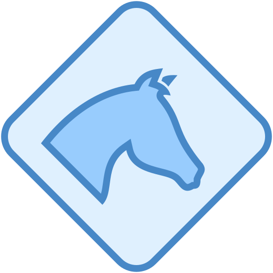 Horses Sign icon. This icon is depicting the head of a horse within a diamond shaped sign. The head of the horse occupies most of the space within the diamond and is facing profile towards the right.