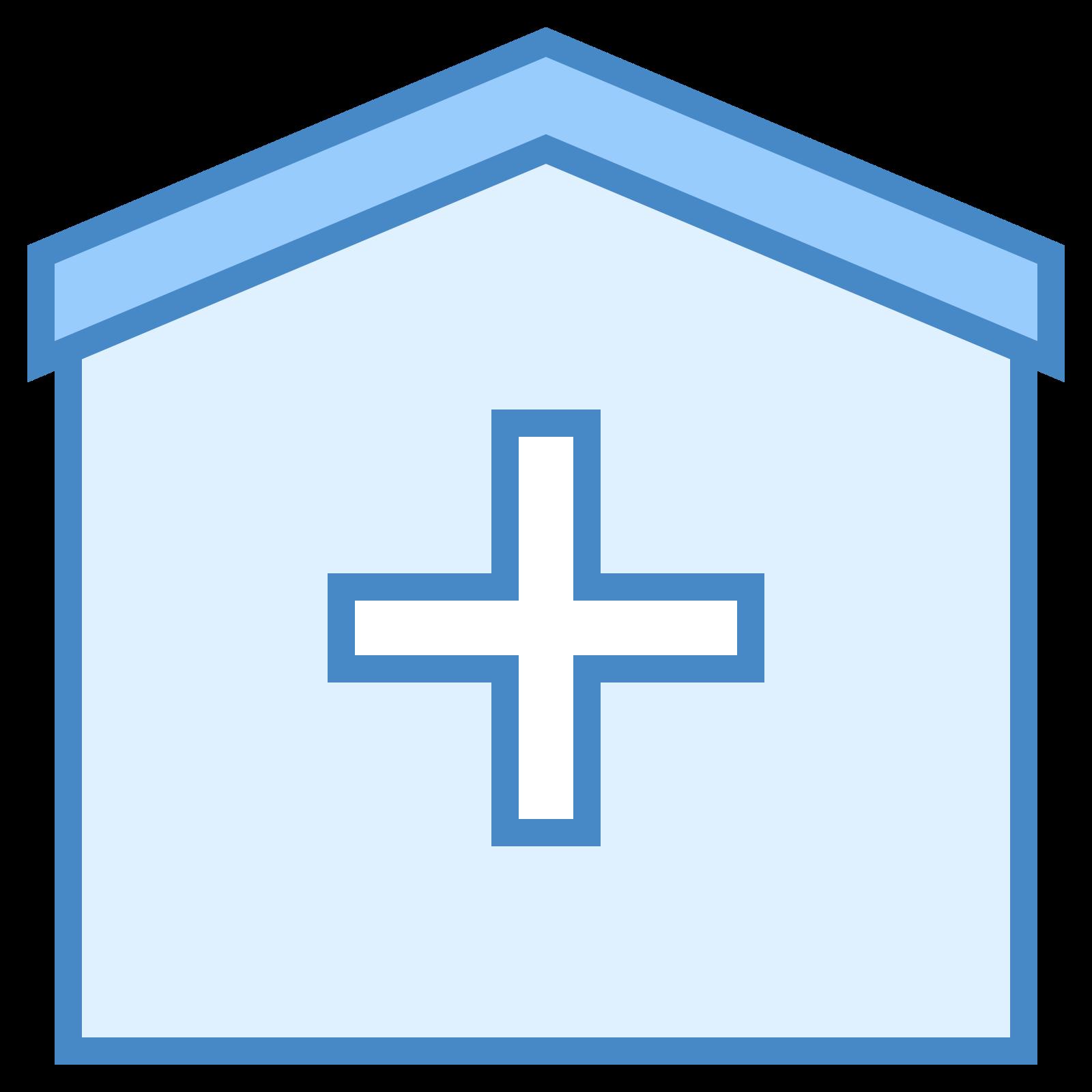 醫院 icon. The icon shows a box with a cross prominently shown in the center. This type of symbol is commonly used to represent a hospital, ambulance, or other health aid giving organization.
