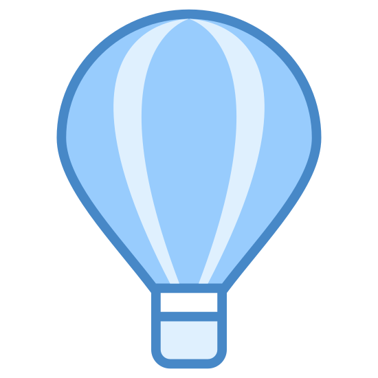 Balon na gorące powietrze icon. This looks like a hot air balloon. There's a circle, with multiple lines originating from the top and coming to a point at the bottom. At the point on the bottom, there's a small square.
