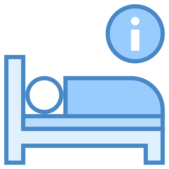 "Hotelinformationen icon. In this icon is a person sleeping on a bed with an encircled letter ""i"" above their head. This depicts to the onlooker the possibility of obtaining hotel/sleeping information."