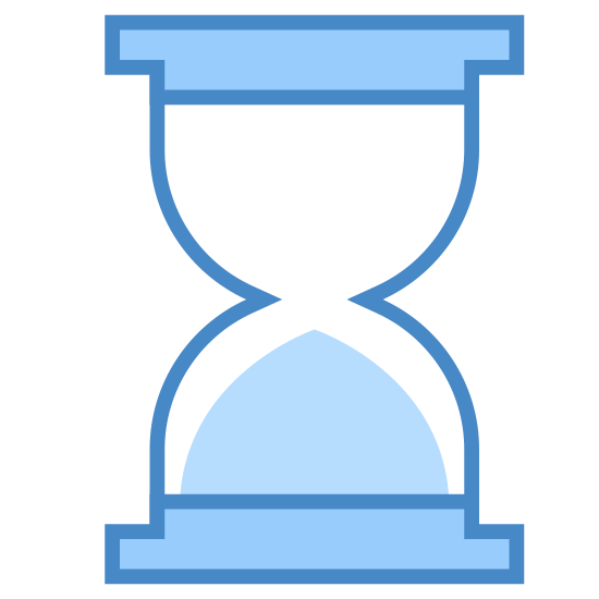 Sand Timer icon. The icon is a simplified, two-dimensional hourglass with all of its sand in the bottom chamber. Rectangles each form the bases of the icon, which are connected by a thin shaft of glass that tapers harshly at the middle. The section below the waist contains all of the sand.