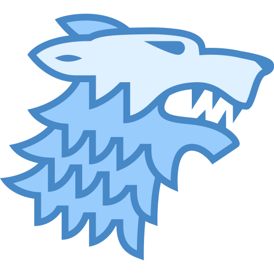 Dom Stark icon. This is a picture of the profile of an angry dog. he looks to be snarling or growling. his mouth is partially open and his sharp teeth are showing. his eyes are slanted and his ears are sticking straight back