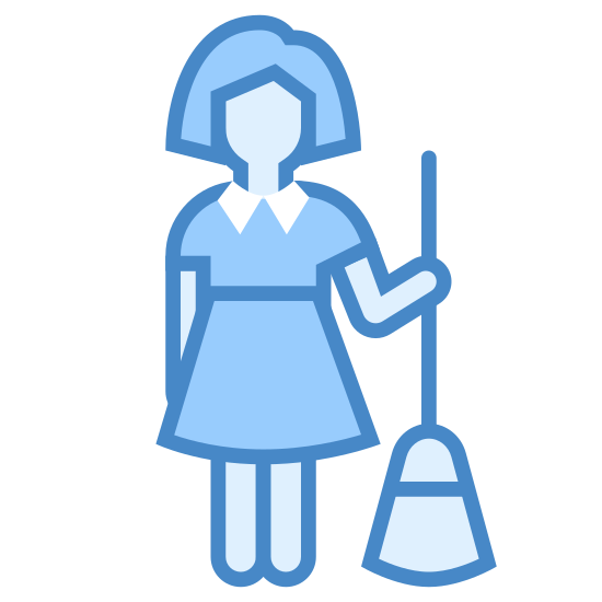 Gosposia Kobieta icon. This icon is of a woman with a broom sweeping dust/debris. The purpose of the icon is to depict and female housekeeper engaged in work.