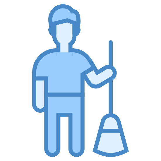 Janitor icon. This is a male human standing upright with both hands on long shaft of a broom handle. The head of the broom is in motion and is kicking up small bits of debris.