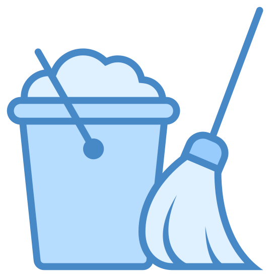 Housekeeping icon. A housekeeping icon is a bucket and a mop next to each other. A bucket is a cylinder shape with an open top and a handle attach to it. Inside the bucket there is foam, which is the soap, and the mop is there to show that it is to clean up the floors with the soap.