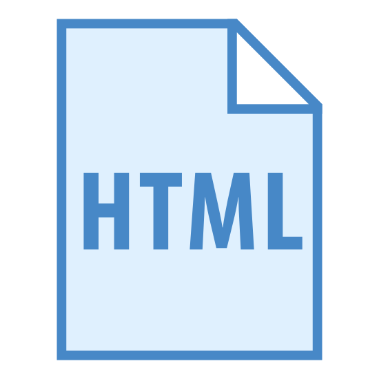 Type de fichier HTML icon. There is a vertically aligned rectangle. The left and right sides are longer than the top/bottom sides. In the top right corner there is a small right triangle built into the rectangle, creating a diagonal line in place of part of the top and right sides. In the middle of the rectangle are the letters 'HTML'