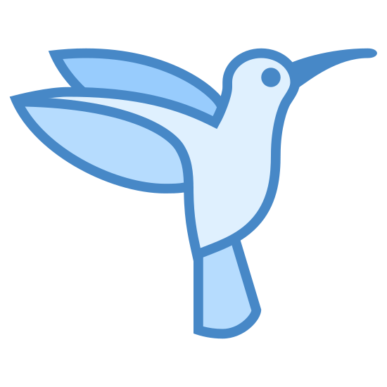 Hummingbird icon. It's a outline of a humming bird as it is flying with it's body almost vertical.  It appears as it's trying to eat nectar from a flower.