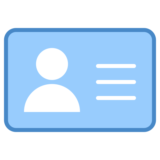 Identification Documents icon. This is a picture of a license or identification card. it has a man's picture on it, and you can only see from his chest up. to the right of his picture is three lines of writing