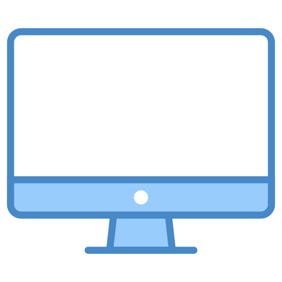 iMac icon. This logo is a computer monitor. There is a rounded rectangle longer horizontally than vertically, with a line in the lower quarter of the rectangle. In this lower quarter, there is a single centered dot. Protruding from the center of the bottom is a base that is shaped like a bell.