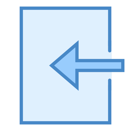 Import icon. There is a vertical rectangle with the right side missing the majority of the line to make it complete. Instead there is a large basic arrow, half inside the square, half outside and pointing left.