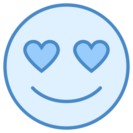 "In Love icon. The ""In Love"" icon is represented by a round, smiling face.  It has no nose, and there are two small hearts where the eyes should be.  There is no hair, just a simple round face accented with a u-shaped smile and heart-eyes."