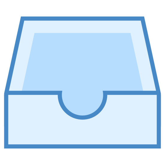 Inbox icon. The icon is of an inbox, like where you would put mail or papers on a desk. It is a rectangle box without a lid. On the front at the top there is a semi-circle cutout. It is facing forward.