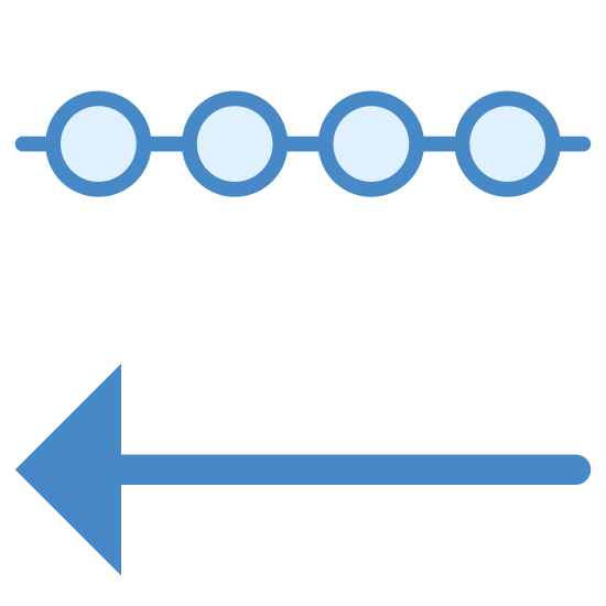 """Incoming Data icon. This """"incoming data"""" symbol consists of a single horizontal line interrupted by three circles. Directly underneath this is a horizontal line with two right-facing diagonal lines at the left end, making an arrow pointing left. It is a line with three circles in it, with an arrow pointing left underneath it."""