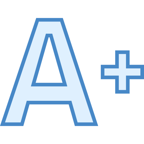"Increase Font icon. It is an icon of a giant letter ""A"" with a plus sign next to it. The letter ""A"" is outlined as a block letter. The plus sign is much smaller than the letter."