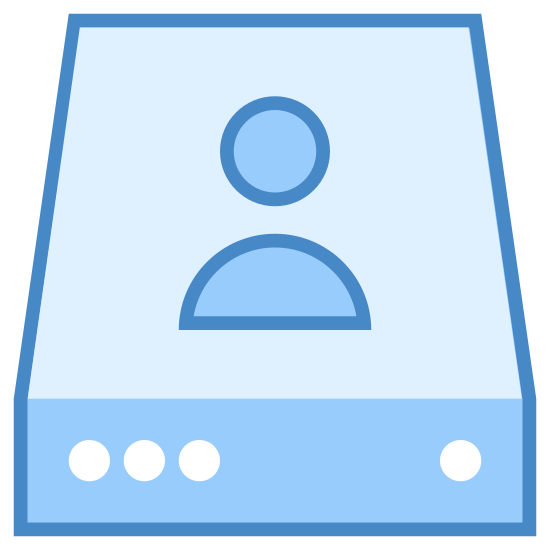 Individual Server icon. This image shows a rectangular cubic object. It is slightly longer than it is wide, and stands at a relatively short height. The front has lights and output jacks. On the top is the image of a human head and shoulders.