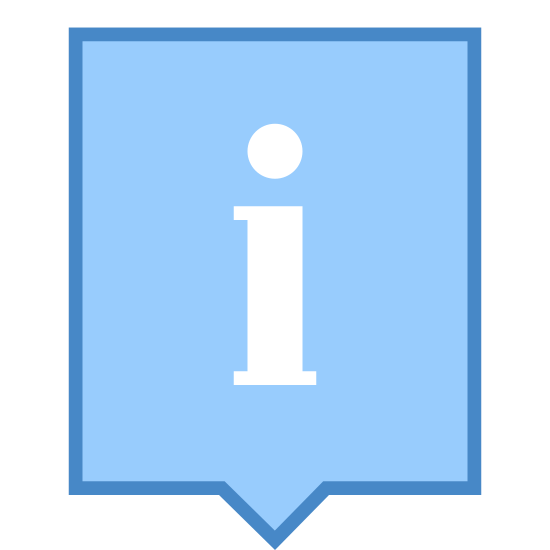Popup de informação icon. This icon for info popup is depicted as a square. At the bottom of the square in its center there is a small protrusion outward ending in a sharp point. At the top of the square is a line running horizontal across it. In the center of the square is a large lower case letter i.