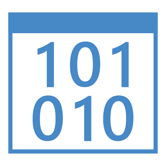 Informatics icon. This is a photo of a square. At the top of the square is a line going through it horizontally. Below that line are the numbers 1, 0, and 1. Below that, 0, 1, and 0.