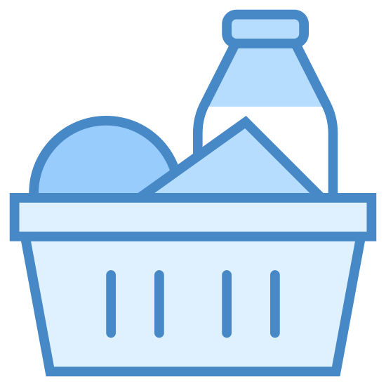 Ингредиенты icon. The logo displays a shopping basket one would use in a grocery store in lieu of a cart for carrying smaller amount of items, indicating shopping for specific ingredients. Inside the basket is a few items, one of which is a bottle as if it's displaying milk, and the other two are vague shapes.