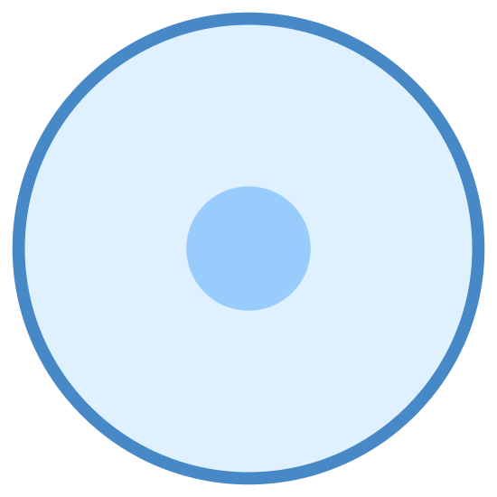 Initial State icon. This icon consists of an outline of a geometric circle. Within this circle is empty space, except for a similar but much smaller outlined circle in its center.