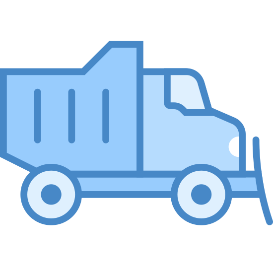Snow Plow icon. It's a logo of Interstate Plow Truck reduced to a plowing truck. It looks like a normal truck except it has a big plow on the front grill for moving objects.