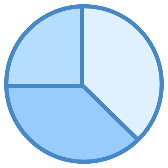 Investment Portfolio icon. There is a circle. inside the circle, there is a Y that covers the entire thing, separating the circle into 3 sections. one side is equal to the other but the other side is smaller.