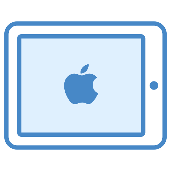 iPad icon. It's a logo for an iPad from Apple made up of two rounded rectangles inside each other. There is a dot on the left side between the two rectangles depicting the home button.