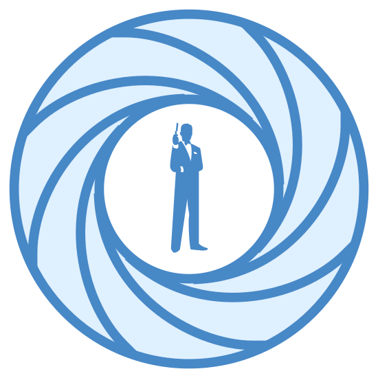 James Bond icon. This logo is of a man standing inside of a round lens aperture with it closed down half way. There are six curved lines that lead to the center where the man is standing. The man is wearing a tuxedo and holding a gun in his right hand aimed toward the sky.