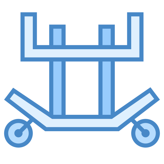 Transport silnika odrzutowego icon. The image is of a cart with wheels. There are four points on the cart that is sticking up but it is not covered. The top is flat. On the bottom there is a curved bar with a wheel on each curved end.