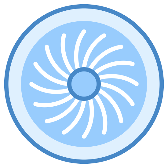 Jet Engine icon. This is a picture of a jet engine and you can see the fan going around. it has a circular center with spokes all around it. the rim of the engine can also be seen.