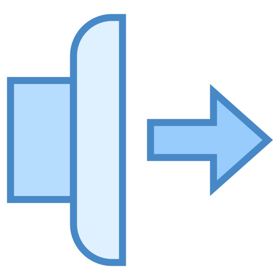 Jog Forward icon. It's a logo depicting jogging forward. There is an arrow pointing to the right with a vertically positioned rounded rectangle to the left of the arrow. There are two short perpendicular horizontal lines attached to the left of the rounded rectangle.