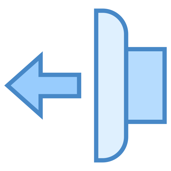 Jog Reverse icon. The image looks like a rectangle that has rounded out corners on the right side. There are also lines that stick out a little on the right side near the middle of the rectangle. And on the left side, almost connected to the rectangle, an arrow is pointing to the left near the middle.