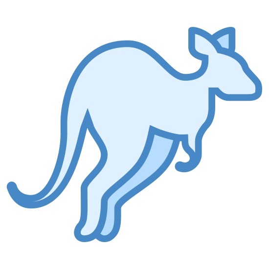 Kangur icon. The icon is a simplified depiction of the outline of a kangaroo. The icon, shaped with a kangaroo with ears, a snout, short arms, long legs, and a long tale, calls to mind a kangaroo mid-air in the process of one of its many characteristic leaps.