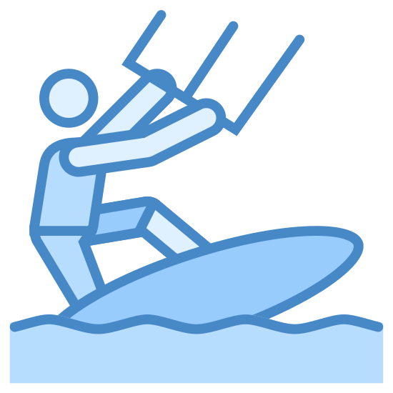 Kiteserfing icon. The icon is of a man like figure. The man like figure is on a surf board that is on a wavy line. He is holding two handles with his hands.